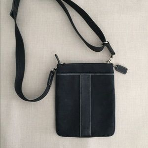 Coach crossbody black with white stitching